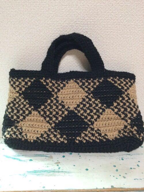 693d1284c2c3 かぎ針で編む 斜めギンガムバッグ | okadaya 町田店 | 生地、手芸用品の ...